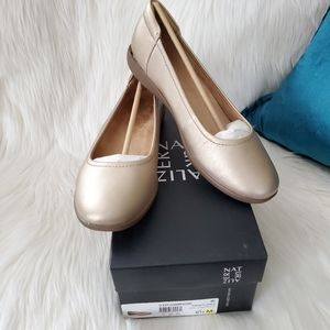 Naturalizer Flexy Champagne Gold Leather Flats 8.5